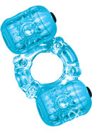 Hero Double Pleaser Teaser Vibrating Cock Ring - Blue