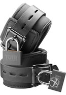 Tom Of Finland Neoprene Wrist Cuffs With Lock Black