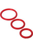 Trinity 4 Men Silicone Cock Rings - 3 Pack - Red