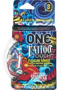 One Tattoo Touch Lubricated Latex Ribbed Condoms 3-pack